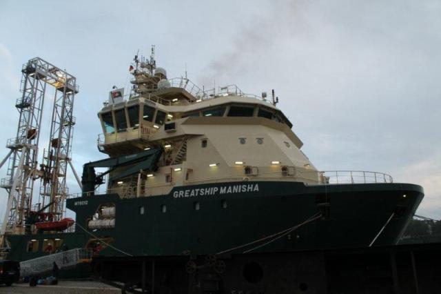 Greatship Manisha Kielin satamassa. Kuva: IODP/Aarno Kotilainen.