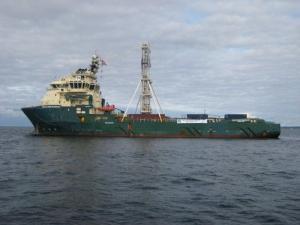 Greatship Manisha kairauspuuhissa Vähä-Beltissä, Tanskan salmissa. Kuva: DavidMcInroy©ECORD_IODP