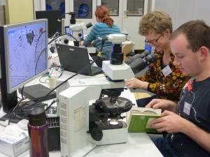 Piilevätutkijat Jonathan ja Elinor työnsä äärellä. Kuva: CarolCotterill©ECORD_IODP